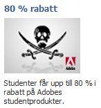 piratflagga med Adobes logga i hörnet och texten 80% rabatt, studenter får upp till 80% rabatt på Adobes studentprodukter